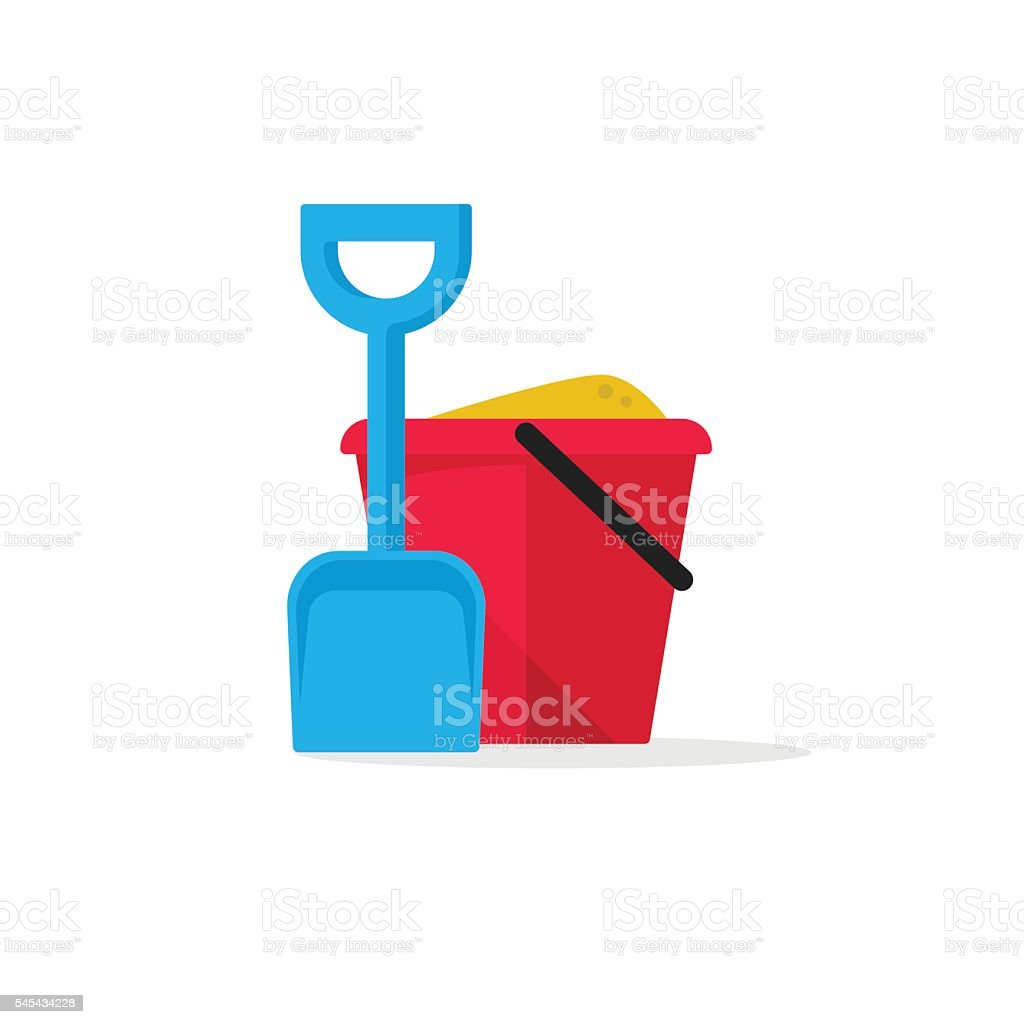 Bucket and spade with sand vector illustration flat icon isolated vector art illustration