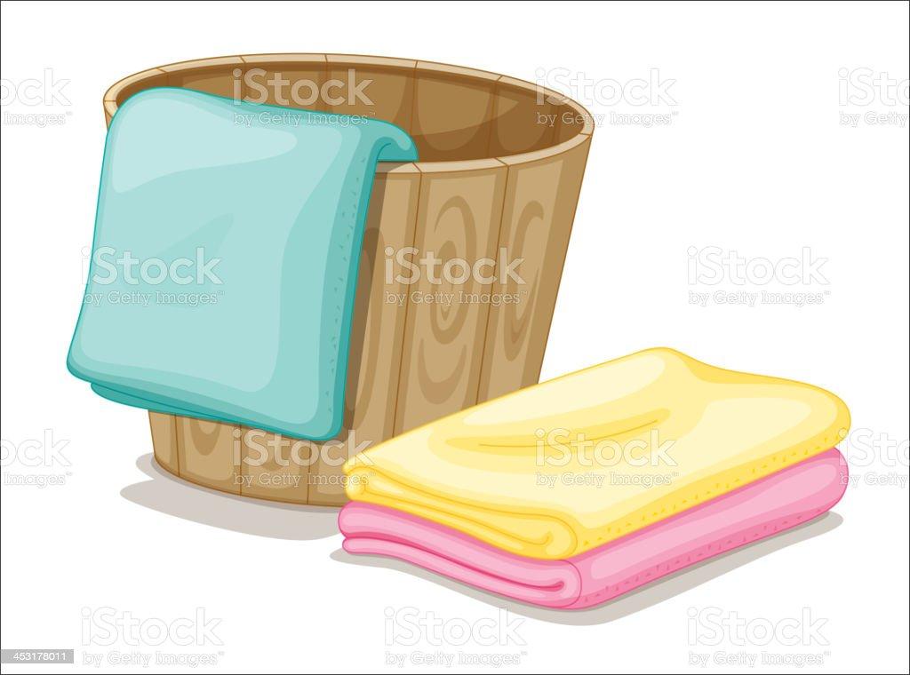 bucket and towels vector art illustration