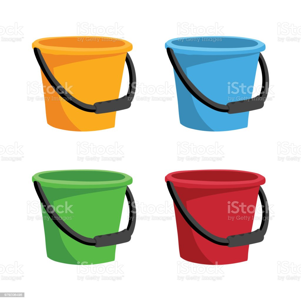 bucket collection vector design vector art illustration