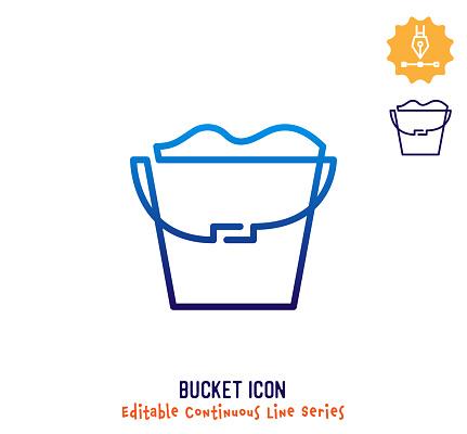 Bucket Continuous Line Editable Icon