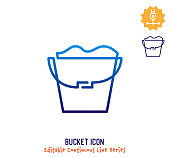 istock Bucket Continuous Line Editable Icon 1249437843
