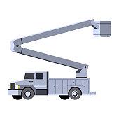 Bucket crane truck vehicle icon