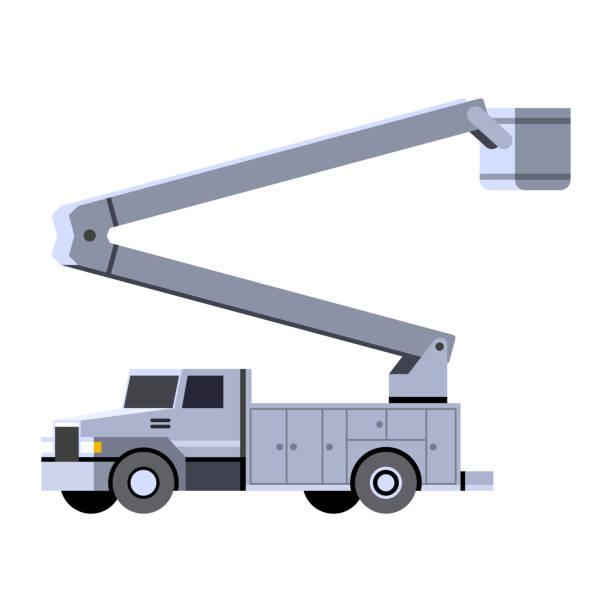stockillustraties, clipart, cartoons en iconen met emmer kraan vrachtwagen voertuig pictogram - emmer