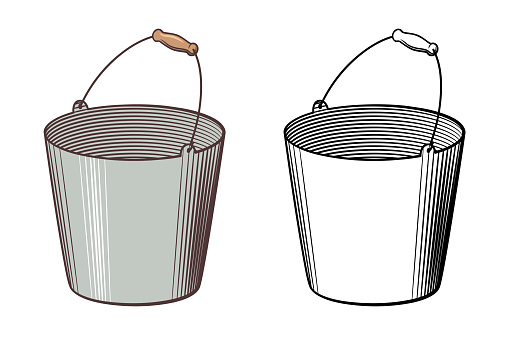 Bucket drawing. Outline and colored version