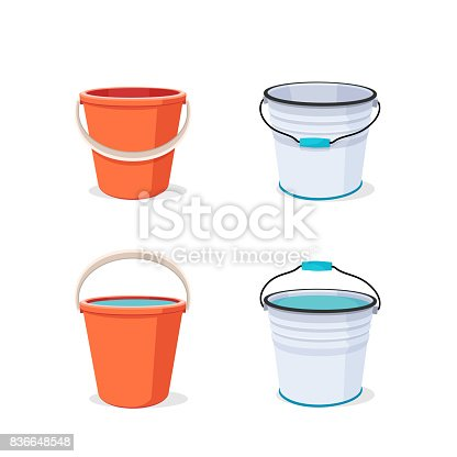 istock Bucket. Flat vector illustration. 836648548