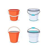 Bucket. Flat vector illustration.