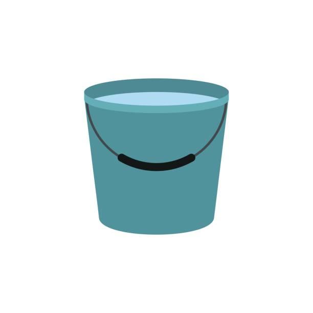 stockillustraties, clipart, cartoons en iconen met emmer vol met water pictogram - emmer