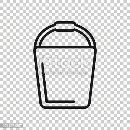 istock Bucket icon in flat style. Garbage pot vector illustration on white isolated background. Pail business concept. 1211274397