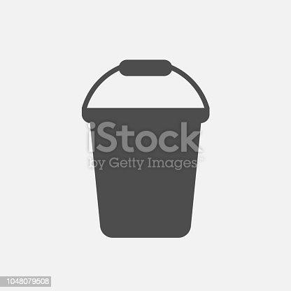 Bucket icon isolated on white background. Vector illustration. Eps 10.