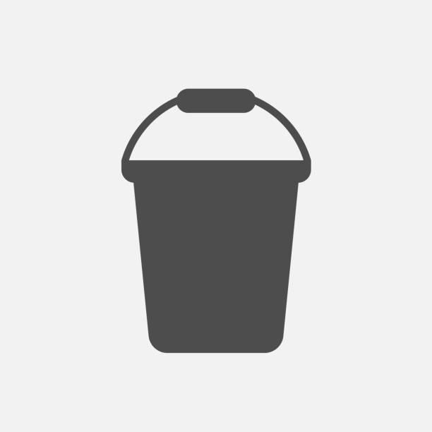 stockillustraties, clipart, cartoons en iconen met emmer pictogram geïsoleerd op een witte achtergrond. vectorillustratie. - emmer