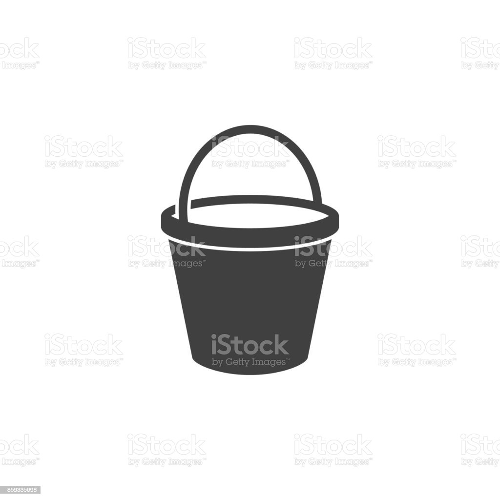 bucket icon on the white background vector art illustration