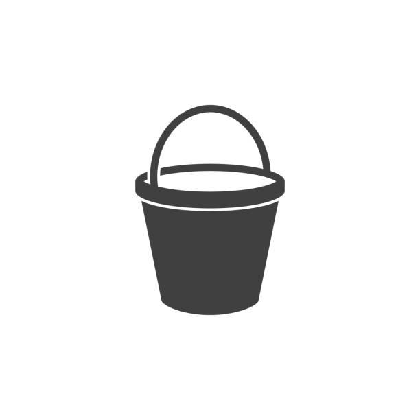 stockillustraties, clipart, cartoons en iconen met emmer pictogram op de witte achtergrond - emmer