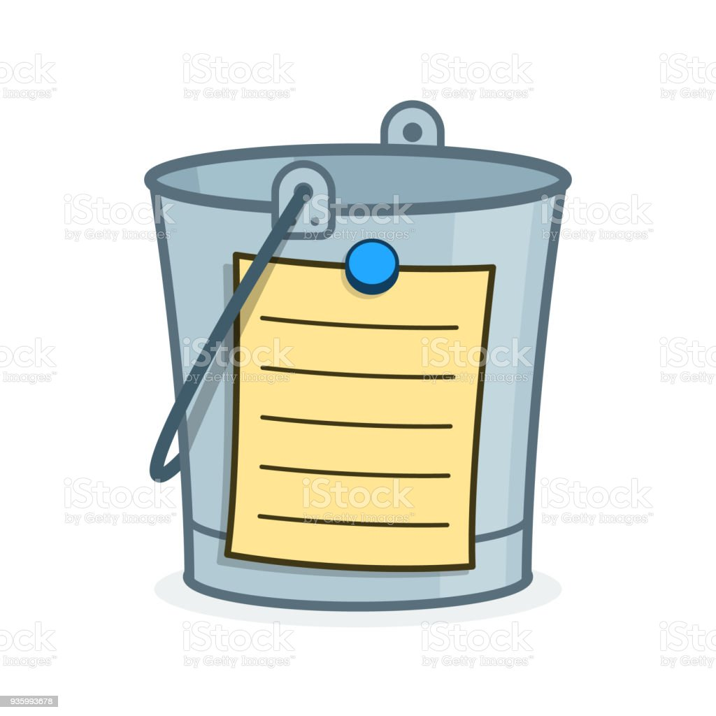 Bucket List cartoon concept with blank page vector art illustration