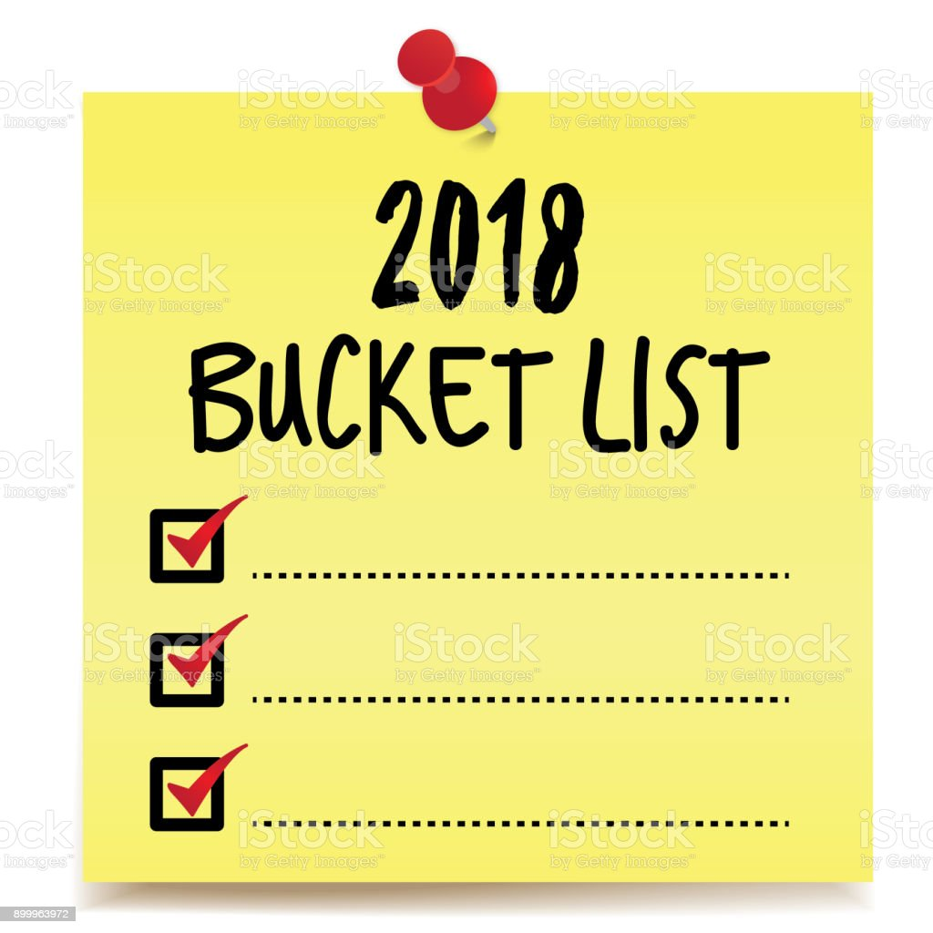 2018 Bucket List vector art illustration