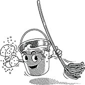 Vintage illustration of a bucket and mop.