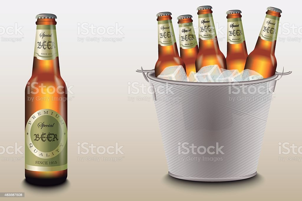 Bucket of Beer vector art illustration