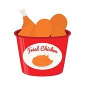 Bucket of fried chicken, tasty fast food. Cartoon flat style