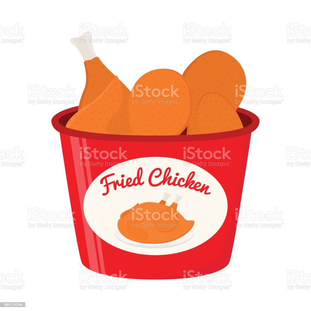 Bucket of fried chicken, tasty fast food. Cartoon flat style vector art illustration