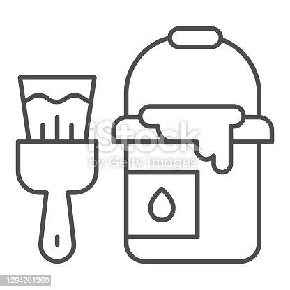 istock Bucket of paint and brush thin line icon, house repair concept, building painter tools sign on white background, paint can and brush icon in outline style for mobile and web. Vector graphics. 1264201360