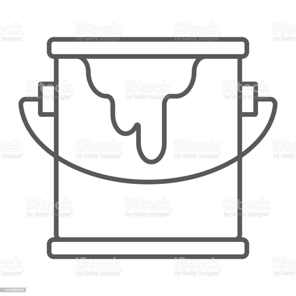 Kova Boya Ince Cizgi Simgesi Boya Ve Konteyner Vektor Grafikleri
