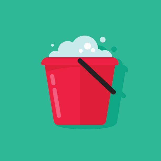 Bucket of water icon vector isolated, flat cartoon pail with foam vector art illustration