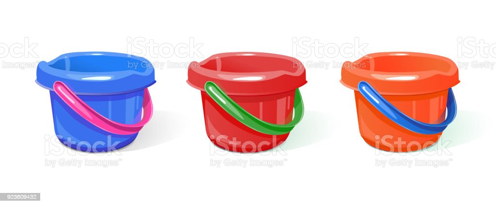 bucket plastic different colors vector art illustration