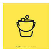 istock Bucket Rounded Line Icon 1084443966