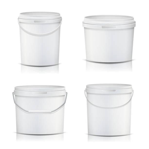 3D Bucket Set Vector. Realistic. Mock Up Plastic Container. Illustration vector art illustration