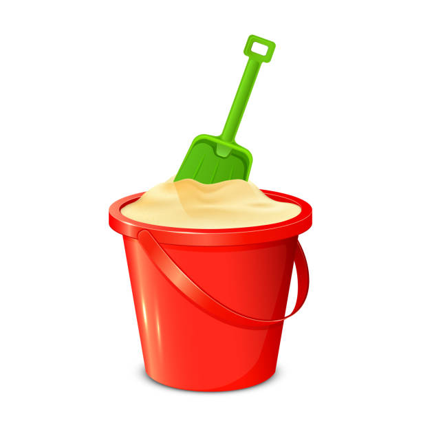 Bucket shovel and sand vector art illustration