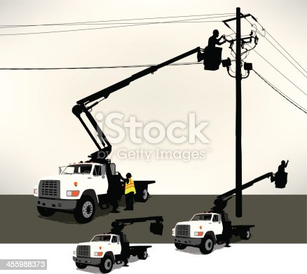 Tight graphic illustration of an electrician in a bucket truck fixing a power line. Layered for easy edits. Three bucket positions. Check out my