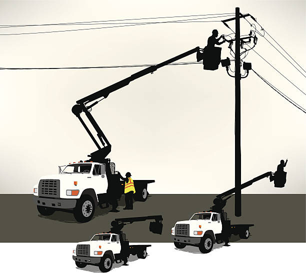 Bucket Truck, Electrician, Power Line Tight graphic illustration of an electrician in a bucket truck fixing a power line. Layered for easy edits. Three bucket positions. Check out my