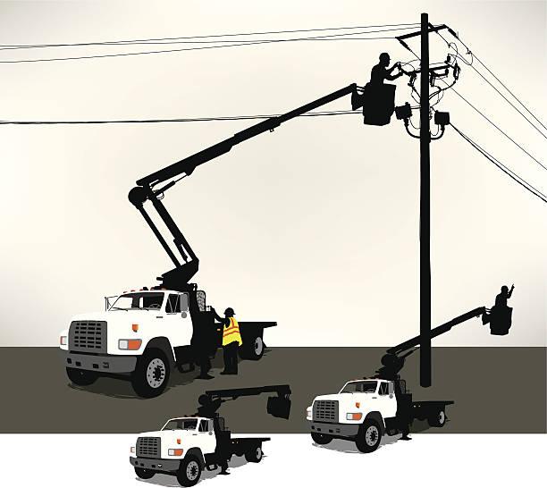Cilindro de camión, electricistas, línea de alimentación - ilustración de arte vectorial