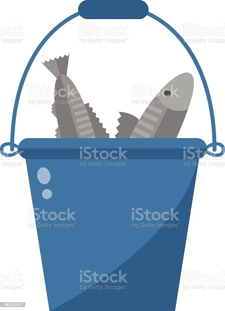 Bucket with fish vector art illustration