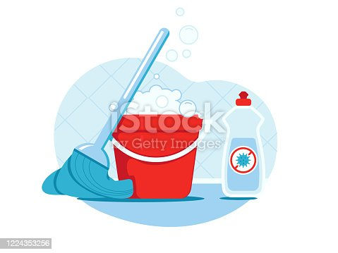istock Bucket with prepared disinfection solution, mop and bottle of disinfectant near it. Extra cleaning for safety 1224353256