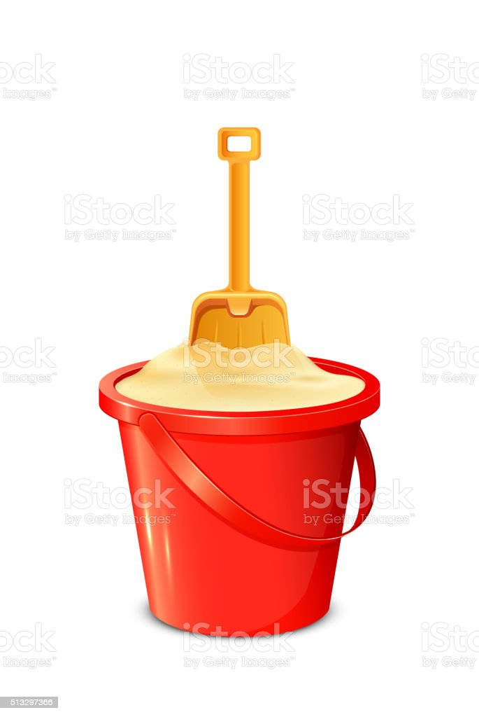 Bucket with shovel and sand vector art illustration