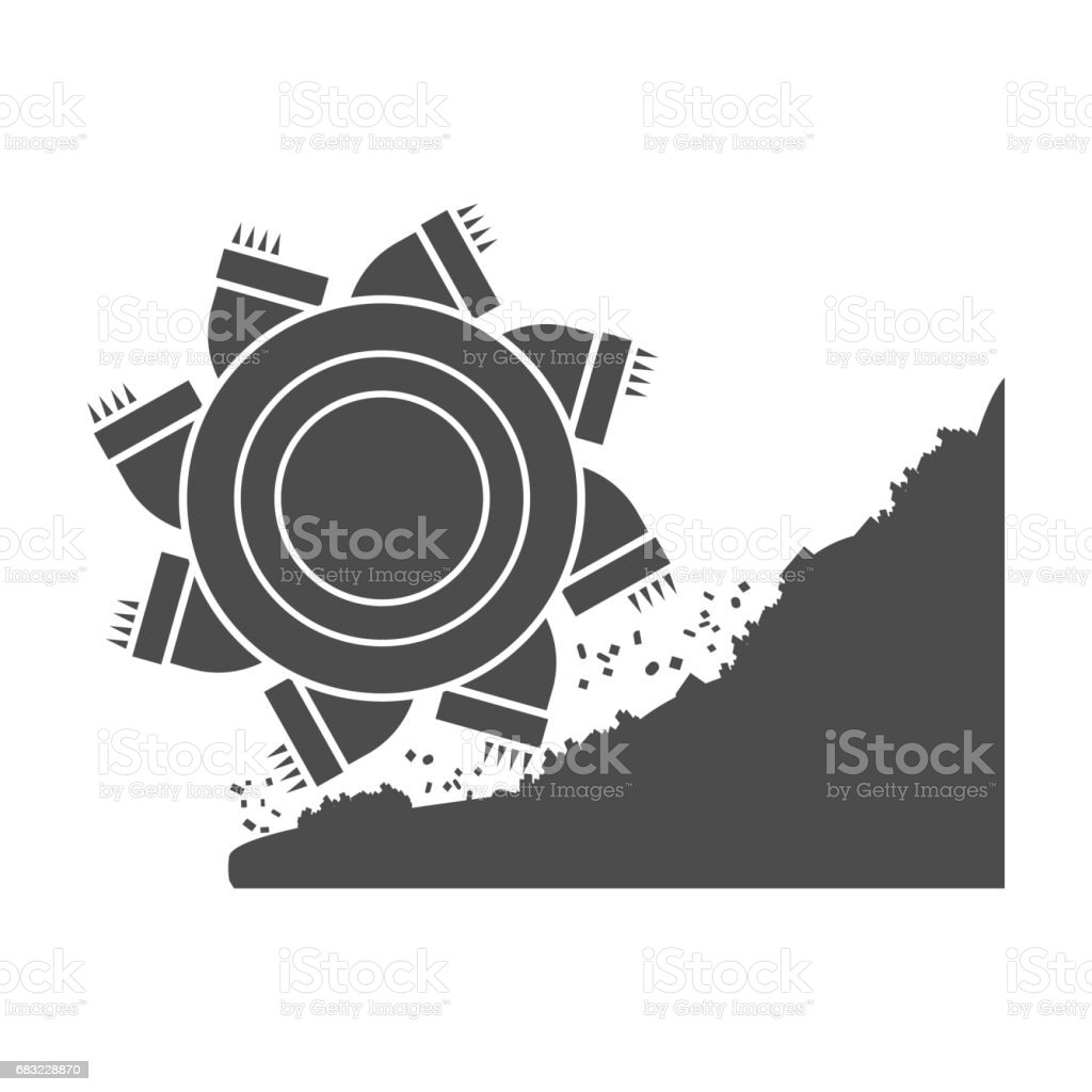 Bucket-wheel excavator icon in black style isolated on white background. Mine symbol stock vector illustration. bucketwheel excavator icon in black style isolated on white background mine symbol stock vector illustration - arte vetorial de stock e mais imagens de arte royalty-free