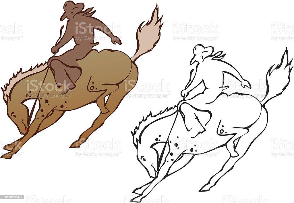 Bucking Bronco and Cowboy vector art illustration