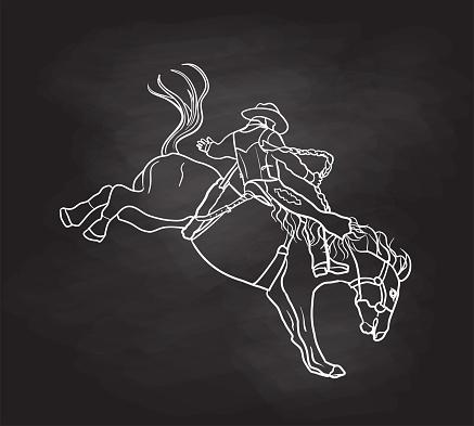 Bucking Bronco Sketch Chalkboard