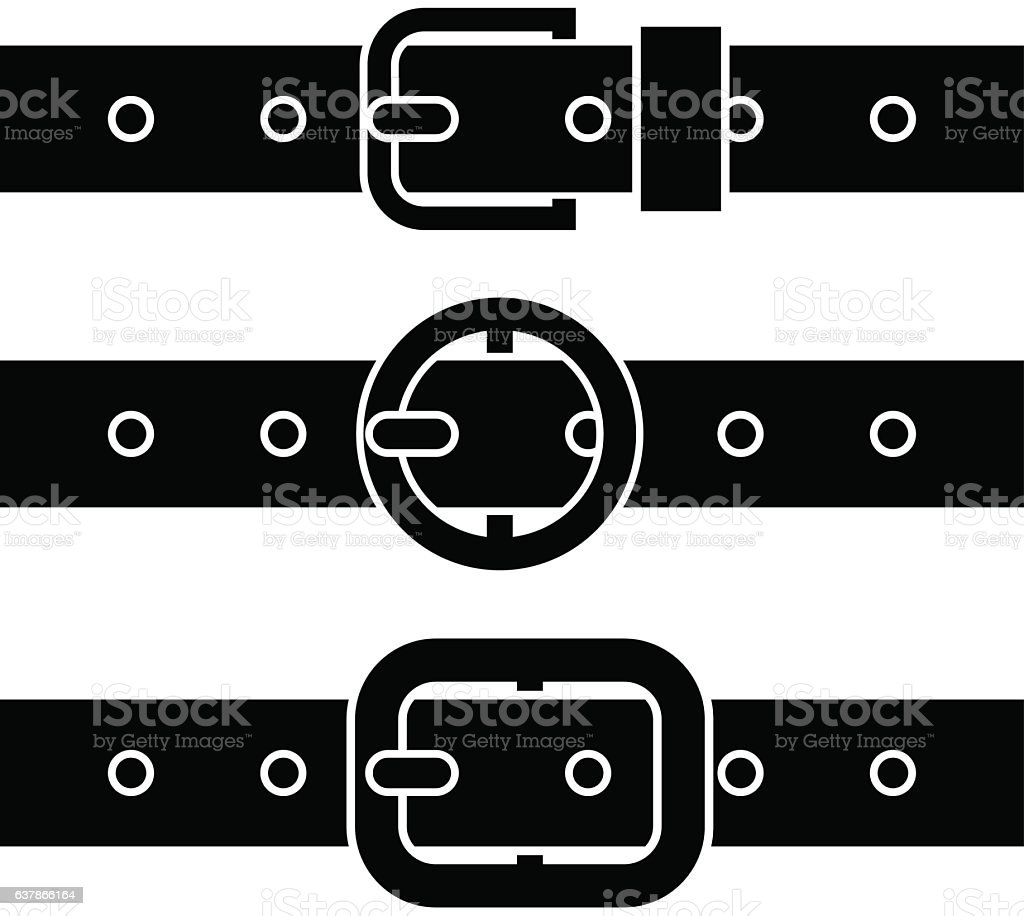 buckle belt black symbols vector art illustration