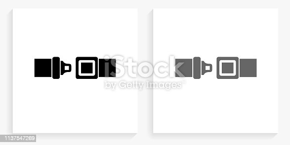 Buckle Up Black and White Square Icon. This 100% royalty free vector illustration is featuring the square button with a drop shadow and the main icon is depicted in black and in grey for a roll-over effect.