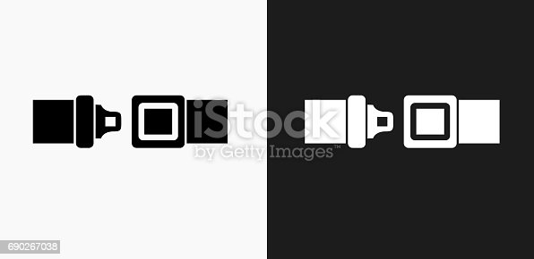 Buckle Up Icon on Black and White Vector Backgrounds. This vector illustration includes two variations of the icon one in black on a light background on the left and another version in white on a dark background positioned on the right. The vector icon is simple yet elegant and can be used in a variety of ways including website or mobile application icon. This royalty free image is 100% vector based and all design elements can be scaled to any size.