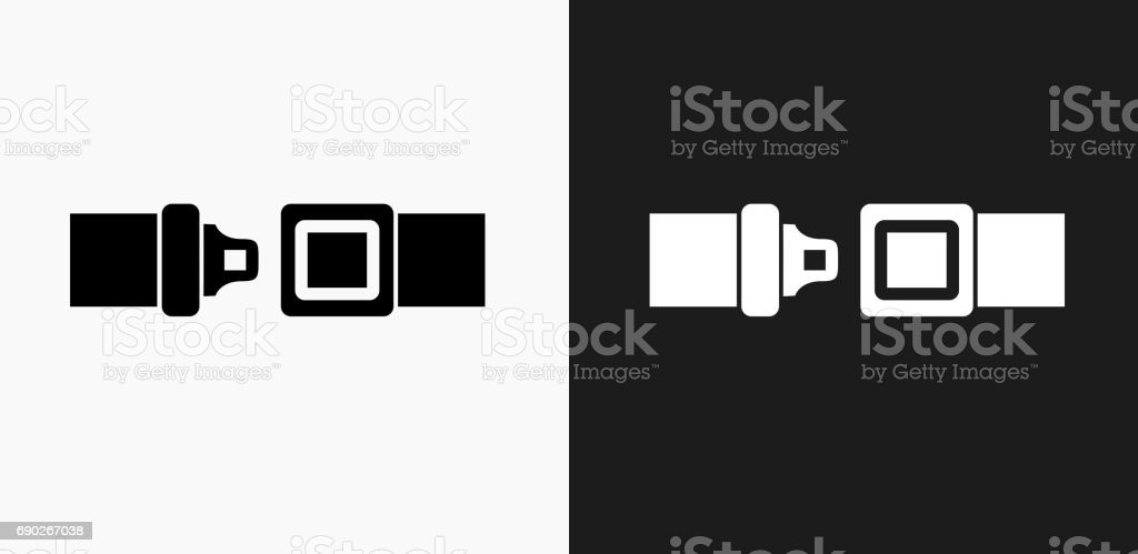 Buckle Up Icon on Black and White Vector Backgrounds vector art illustration