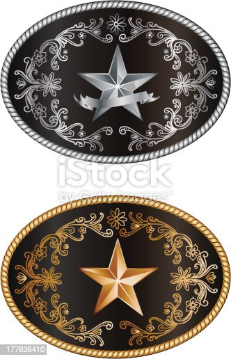 Buckles with the lone star of texas, isolated on white background