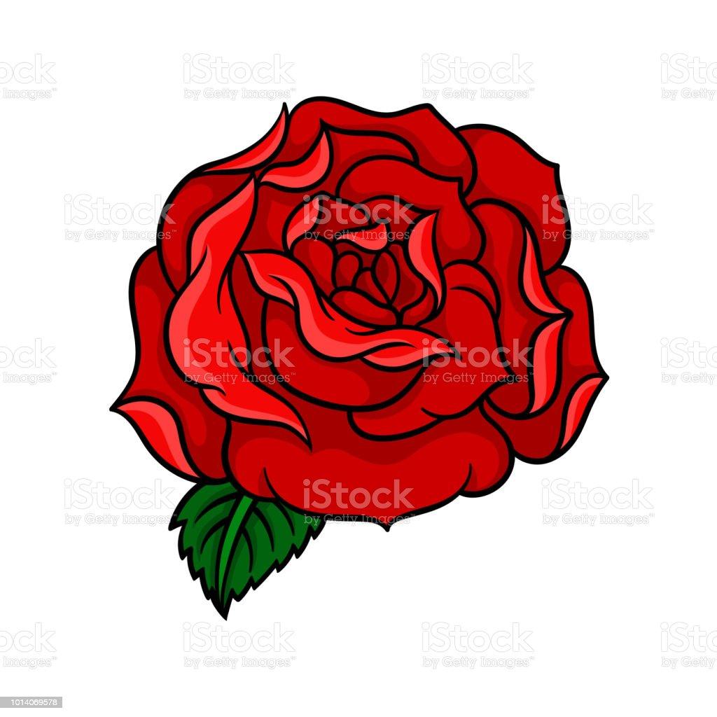 Bourgeon De Rose Avec Des Petales Rouges Vives Et Une Feuille Verte