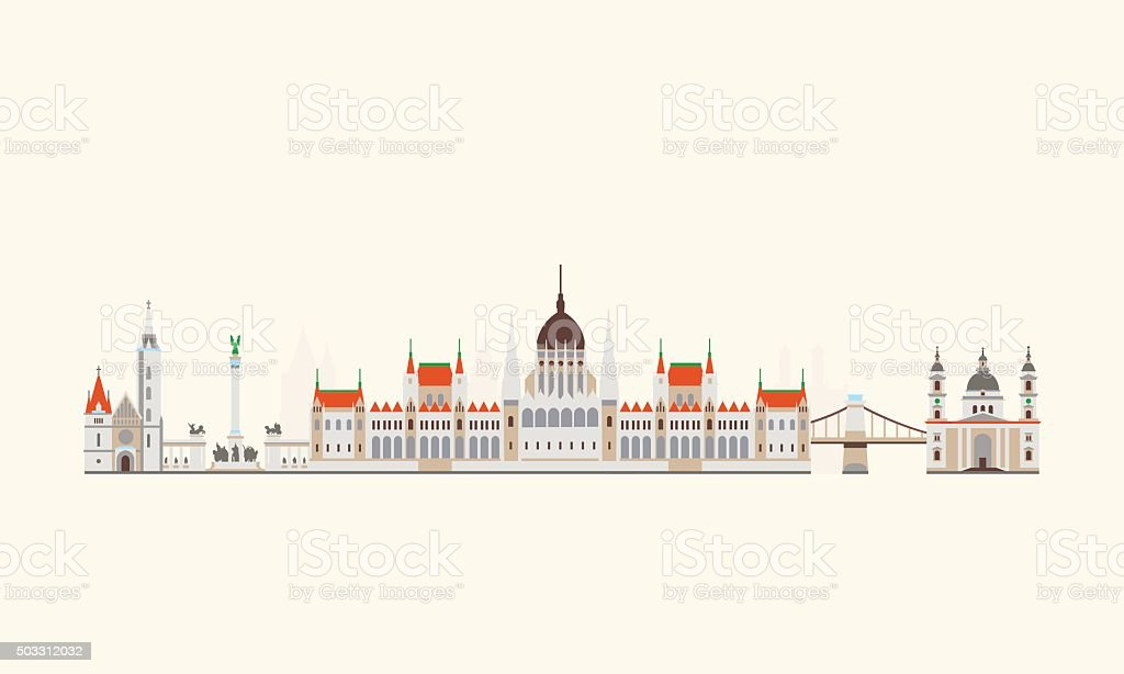 Budapest abstract skyline vector art illustration