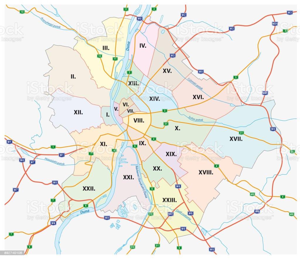 Budapest Verwaltungs- und Fahrplan der Hauptstadt Ungarns – Vektorgrafik