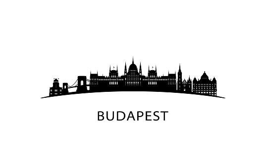 Budapest city skyline. Black cityscape isolated on white background. Vector banner.