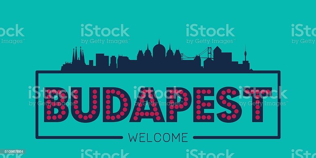 Budapest city skyline typographic illustration vector art illustration