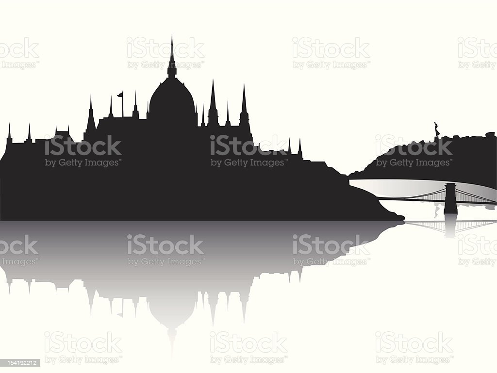 Budapest city view with reflection vector art illustration