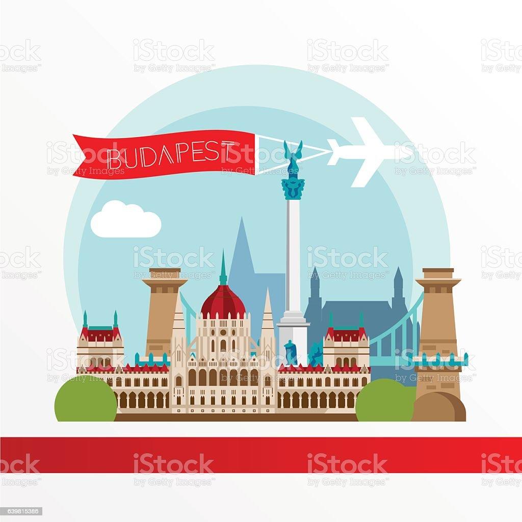 Budapest detailed silhouette. Trendy stylish colorful landmarks. – Vektorgrafik